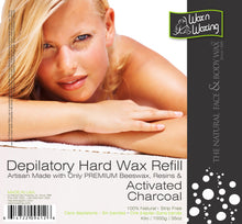 "Load image into Gallery viewer, Wax n Waxing Depilatory Hard Wax - Refill by Kilo ""Activated Charcoal"" 35oz/1000g"