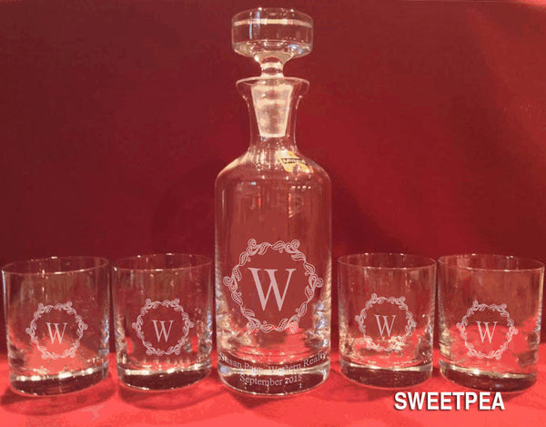 Crystal Whiskey Decanter & 4 Tumblers - Click for design choices