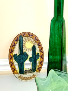 Vintage Cast Iron Cactus Trivet,Arizona, Southwest Decor