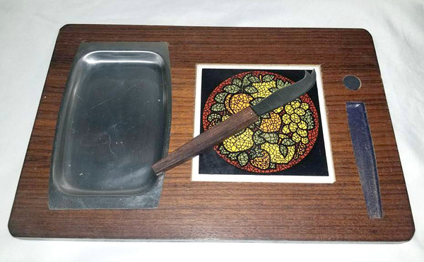 Mid Century Cheese Board,Stainless Tray & Knife, 1960s