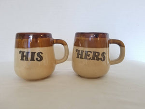 Vintage His and Hers Brown and Tan Pottery Mugs, Wedding Gift
