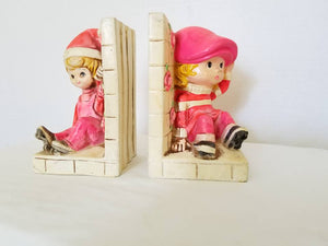 Vintage Holiday Fair Chalkware Bookends, Pink, Kitschy Big Eyes Kids, Bookends,Japan,1960s