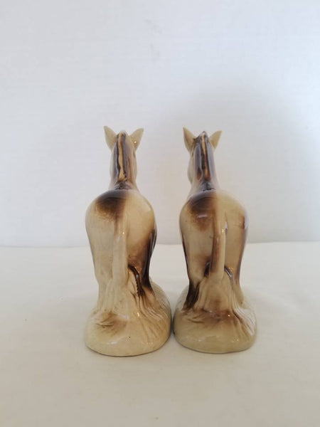 Vintage Donkey Bookends,Burro Figurines,Brazil,Pottery,1950s