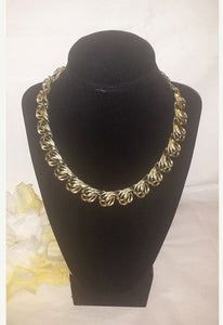 Vintage CORO Gold Tone Swirl Choker Statement Necklace,1960s
