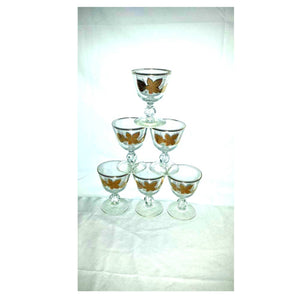 Gold Leaf Cordial Stemware,Set of 6,Hollywood Regency,22K,Gold Leaf