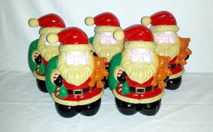 Vintage Light Up Blow Mold SANTAS,Set of 5,Vintage Christmas,Santa Yard Pathway Lights