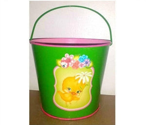 Vintage Metal Sand Bucket,Tin Beach Pail, Easter Bucket,Baby Chick, Kitschy