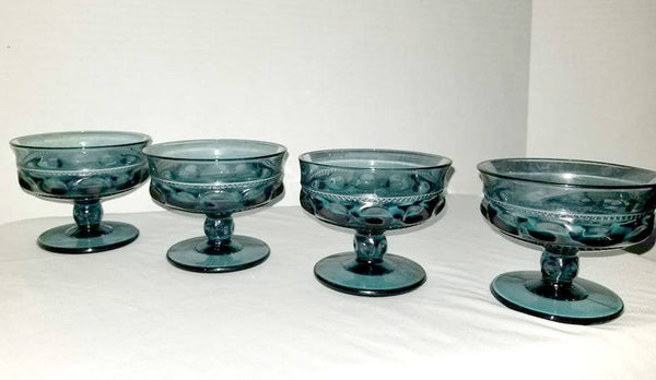 Vintage Kings Crown Sherbet Cups,Thumbprint Glass, Blue Glass