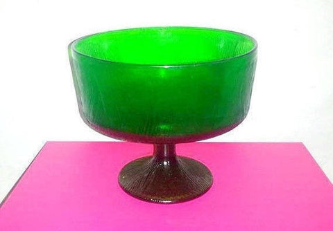 Vintage Green Glass Compote, Hoosier Glass, 1970s