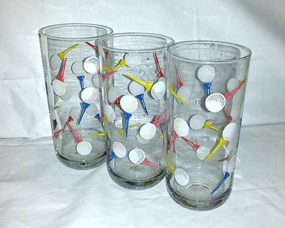 Vintage Culver Highball Golf Tumblers,Set of 3,1980s