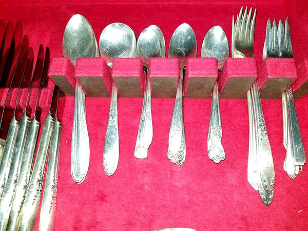Vintage Silverplate Flatware,42 Pc Set,Case,Wm Rogers,Oneida,King Edward,Mismatched Flatware