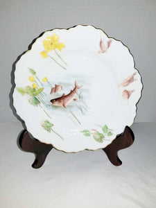 Limoges France,Hand Painted Fish Plate,Antique Wm Guerin,1900's