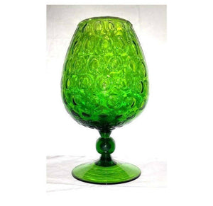 Empoli Italian Art Glass Optic Vase,Green Art Glass Snifter Vase,1960s