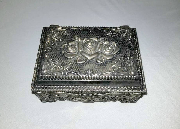Vintage Silver Jewelry Box,Hinged with Velvet Liner