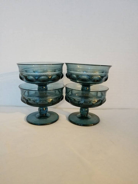 Vintage Kings Crown Sherbet Bowls,Set of 4,Blue Footed Glass,Indiana Glass,Thumbprint,