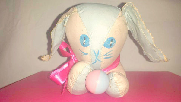 Vintage Baby Bottle Holder,Oil Cloth Bunny,Rabbit,Softskin Bunny Toy