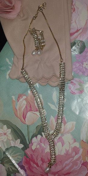 Vintage Rhinestone Lariat Necklace,Teardrop Pearl,Matching Earrings