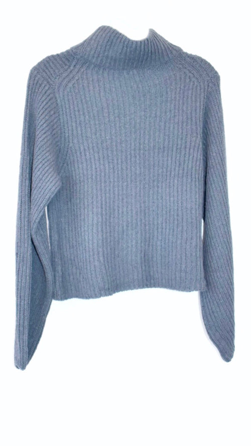 Steel Crop Turtleneck Sweater