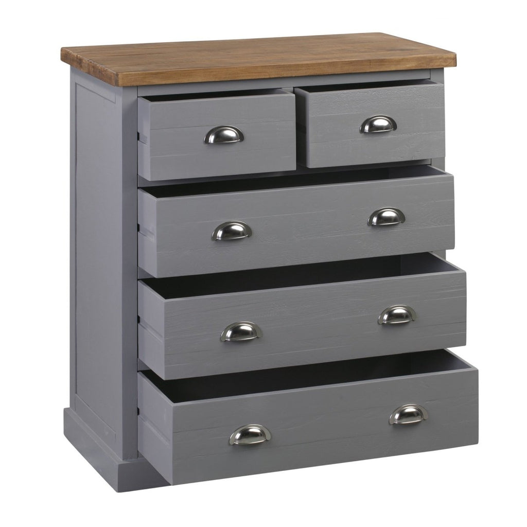 Byland Grey Painted Wood Pine Top Two Over Three Chest Of Drawers - Stoves World Ltd