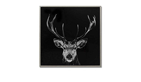 Dark Stag Glass Image with Silver Frame - Stoves World Ltd