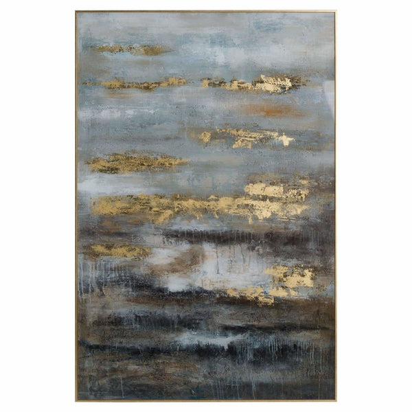 Large Abstract Grey And Gold Glass Image With Gold Frame - Stoves World Ltd