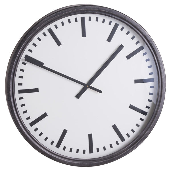 Large Black Station Clock - Stoves World Ltd