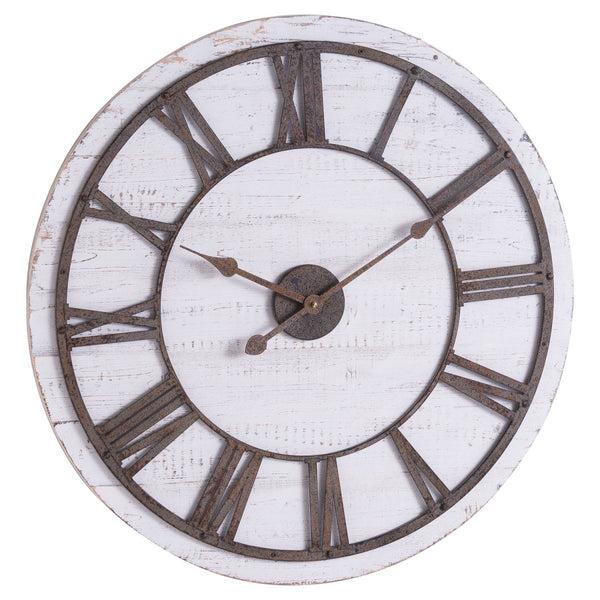 Rustic Wooden Clock With Aged Numerals And Hands - Stoves World Ltd