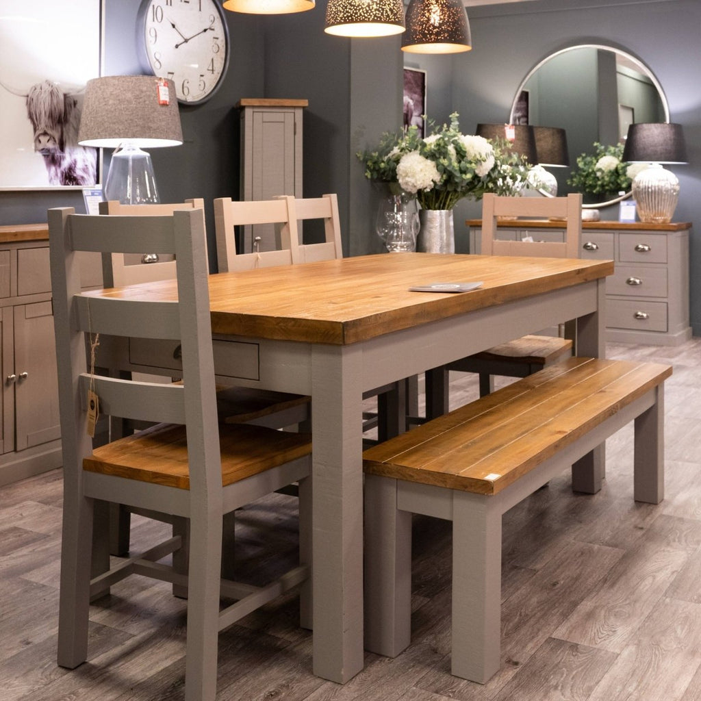 The Byland Collection Grey Painted Natural Pine Top 2 Drawer Dining Table Only - Stoves World Ltd
