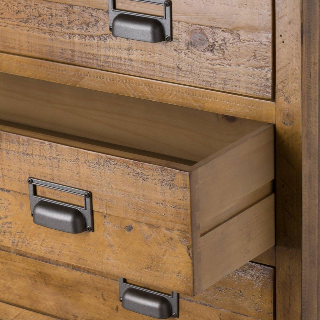 The Draftsman Collection Brown Pine Wood Five Drawer Chest On Grey Metal Legs - Stoves World Ltd