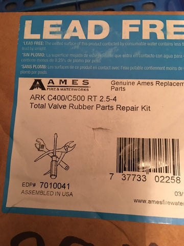 "Colt/Ames RT 2 1/2"" -4"" ARK C400/C500, Total Valve Rubber Parts Repair Kit 7010041"