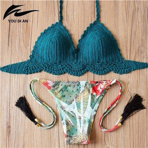 Biquini Conjunto Top Crochê Tanga Floral Green Ambience-Forest Blue - Roupas & Moda
