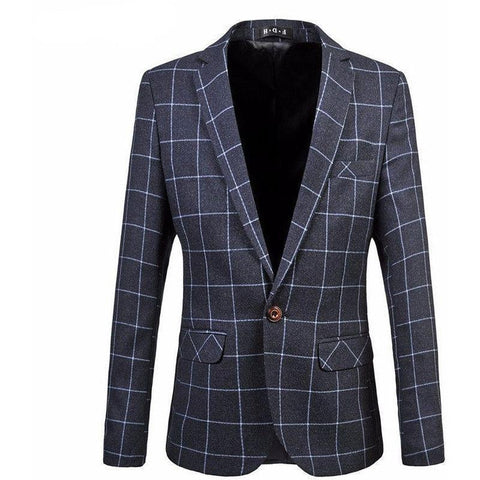 Blazer Masculino Casual Fashion Xadrez Plus Size Business- - Roupas & Moda