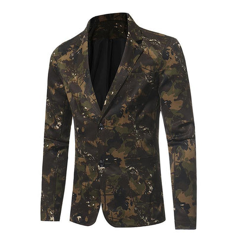 Blazer Masculino Casual Suit Camouflage Series- - Roupas & Moda
