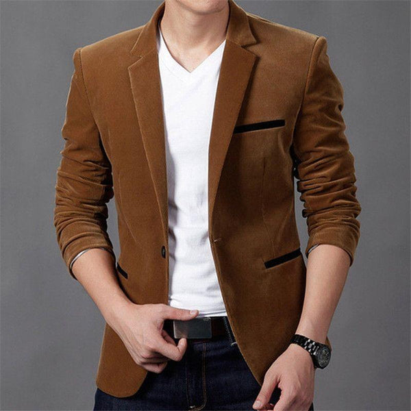 Blazer Masculino Fashion Cotton Slim Fit Cores Sólidas-Brown - Roupas & Moda