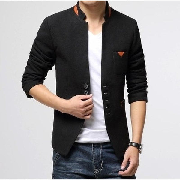 Blazer Masculino Importado Single Button Casual 3 Cores-Black - Roupas & Moda