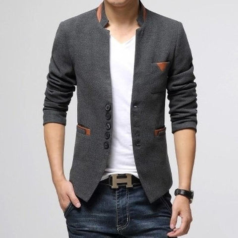 Blazer Masculino Importado Single Button Casual 3 Cores-Gray - Roupas & Moda