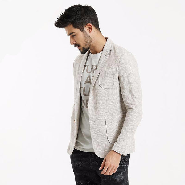 Blazer Masculino Thin Pocket Patchwork-light beige - Roupas & Moda