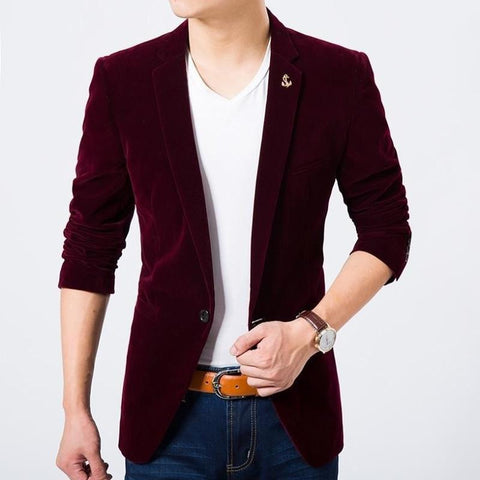 Blazer Masculino Veludo Fashion Slim Fit Plus Size-wine red - Roupas & Moda