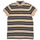 Camisa Polo Tommy Listras Masculina Original - Bege Stripes- - Roupas & Moda