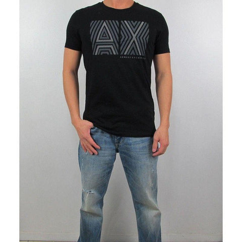 Camiseta Armani Exchange Masculina Black Double Logo- - Roupas & Moda