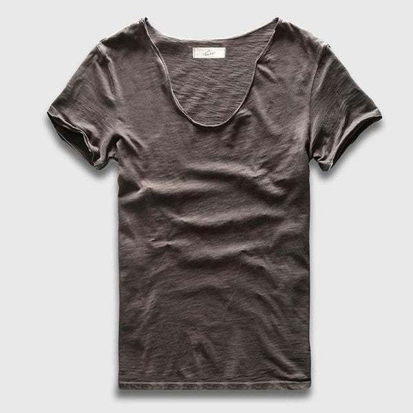 Camiseta Masculina Basica V Neck Slim Fit-Dark Grey - Roupas & Moda