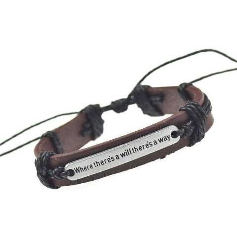 "Pulseira Masculina Entalhe ""Where There Is A Will There Is A Way""-Black - Roupas & Moda"