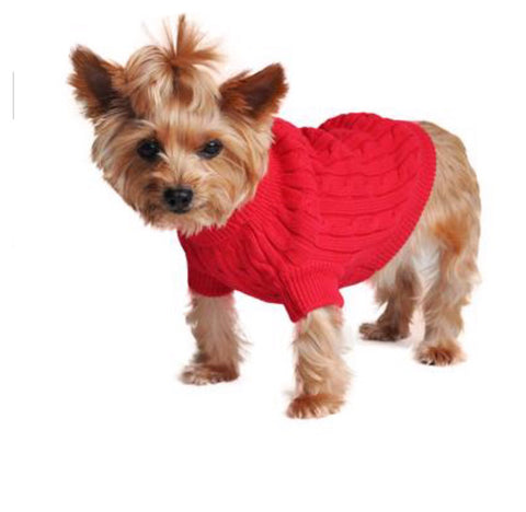 Dog Sweater - Combed Cotton Cable Herb Red Sweater