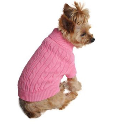 Dog Sweater - Combed Cotton Cable Herb Pink Sweater