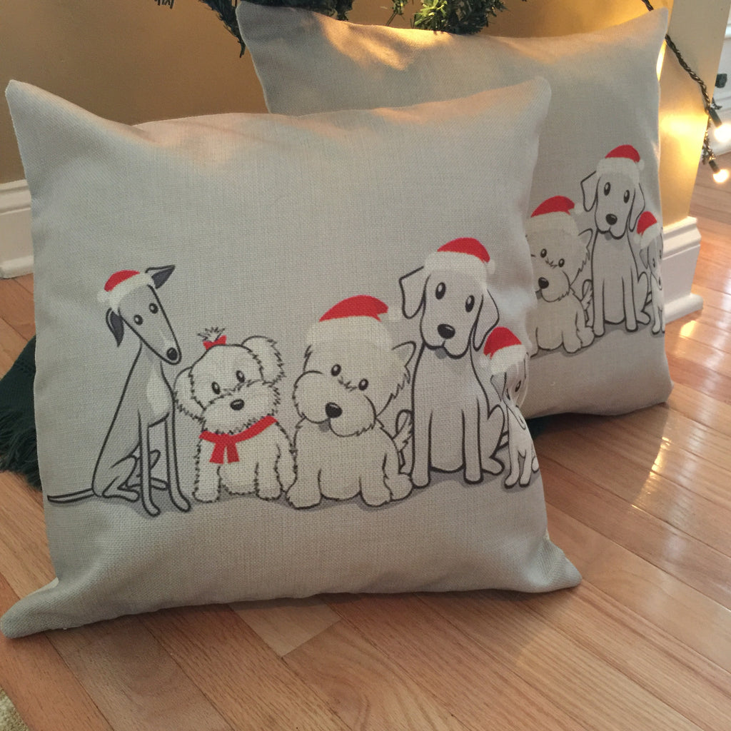 Decorative Pillow Case - Christmas Doggies - Three Humans & A Dog Company