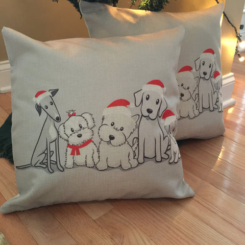 Decorative Pillow Case - Christmas Doggies