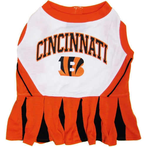 NFL - Cincinnati Bengals Dog Cheerleader Dress - Three Humans & A Dog Company