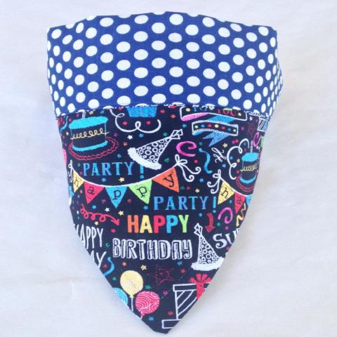 Bandana - Designed Happy Birthday with White Polka on Blue