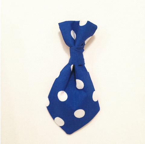 Pet Tie - Blue Large White Polka Dots
