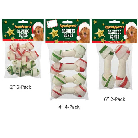 Dog Treat - Ranch Rewards Holiday Rawhide Bones
